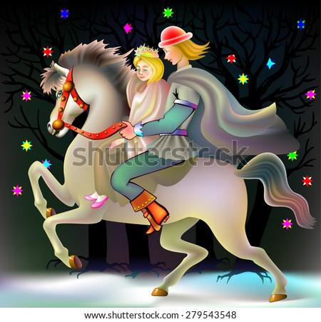 Prince and princess riding on horse, vector cartoon image - stock vector