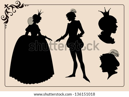 Prince and princess vintage silhouettes - stock vector
