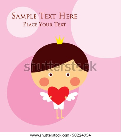prince angel valentine greeting tag - stock vector