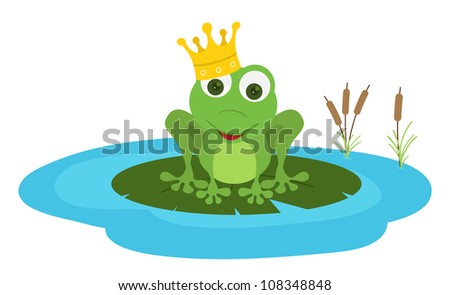prince frog seat in a leaf pond - stock vector