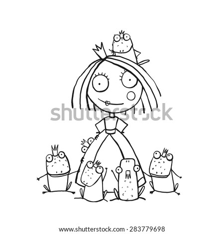 Princess and Many Prince Frogs Portrait Coloring Page. Fun childish hand drawn outline illustration for kids fairy tale. - stock vector