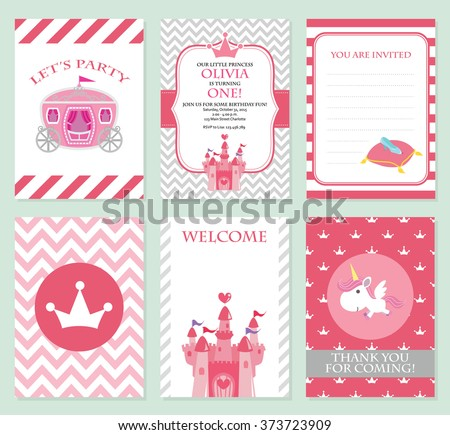 Princess birthday party invitation vector template stock vector princess birthday party invitation vector template set stopboris Choice Image
