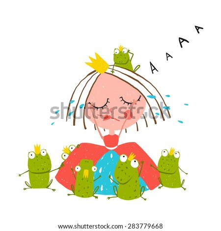 Princess Crying and Many Prince Frogs Colored Drawing. Colorful fun childish hand drawn outline illustration for kids fairy tale. - stock vector