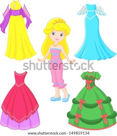 princess dress - stock vector