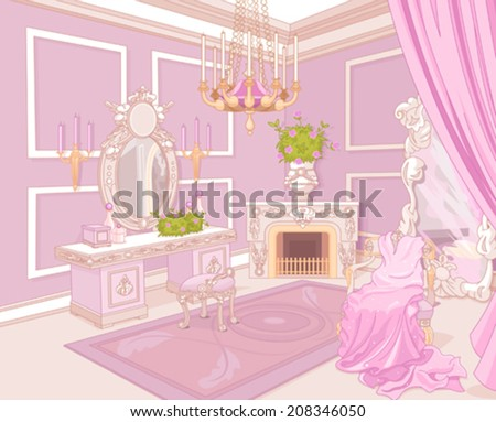 Princess dressing room in a palace - stock vector