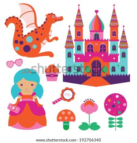 Princess illustration set - stock vector