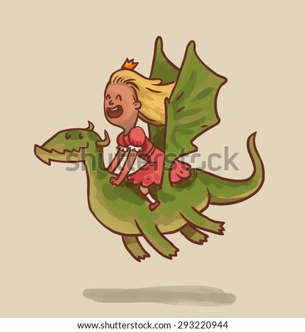 Princess is flying on the dragon, vector - stock vector
