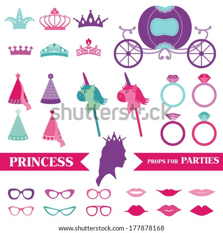 Princess Party set - photobooth props - crown, rings, glasses - in vector - stock vector