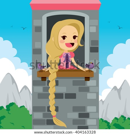 Princess Rapunzel in tower waiting for Prince with bird friends - stock vector