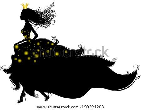 Princess runs, vector characters - stock vector