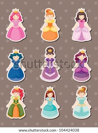 princess stickers - stock vector