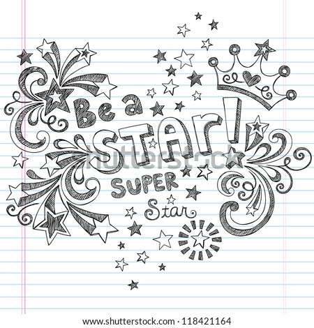 Princess Tiara Crown Vector- Be A Star Back to School Sketchy Notebook Doodles- Vector Illustration Design Elements on Lined Sketchbook Paper Background - stock vector