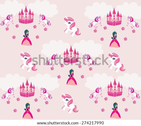 Princess , unicorn and castle Background  - stock vector