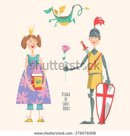 Princess with a book, knight with a rose, and a dragon. Diada de Sant Jordi (the Saint George's Day). The Day of the Rose.  The Day of the Book. Festival in Catalonia, Spain. Vector illustration.