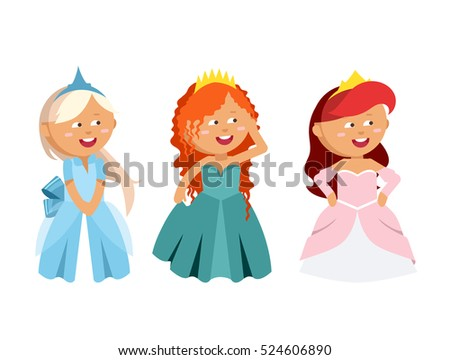 Princesses vector set cute collection of beautiful characters. Adorable elegance style little fairy girls. Old time fashion cartoon costume, crowns and magic fantasy