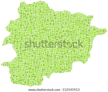 Principality of Andorra - Europe - in a mosaic of green squares