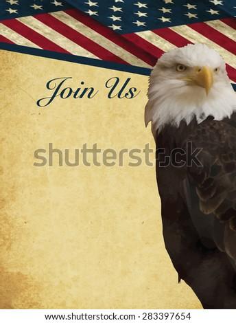 Print - American bald eagle, Haliaeetus leucocephalus, Patriotic invitation - vertical - stock vector