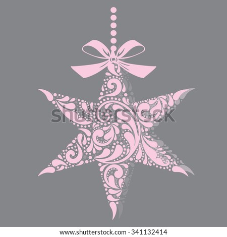 Print. Christmas star. Christmas toy. Isolated object. - stock vector