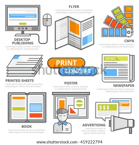 Print design concept, flat line design elements of desktop publishing, flyer, CMYK, offset, poster, printed newspaper, book, advertising. Print illustration, print presentation infographic template. - stock vector