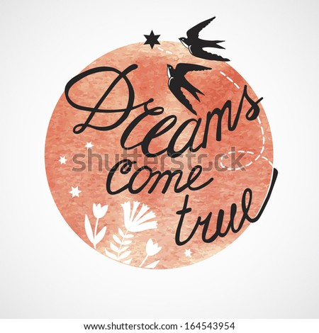Print Dreams come true for two.  Illustration for greeting cards, invitations, and other printing and web projects. - stock vector