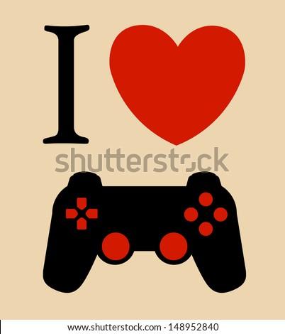 print I love gaming vector illustration background  - stock vector