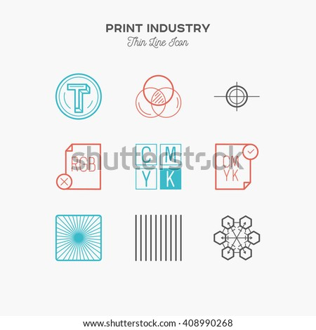 Print industry, print design, printing process, proofing, thin line color icons set, vector illustration - stock vector