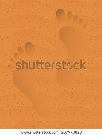 Print of barefooted legs on beach sand