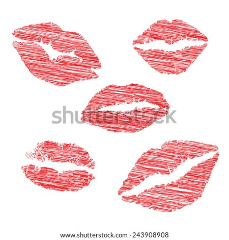 Print of lips kiss vector background - stock vector