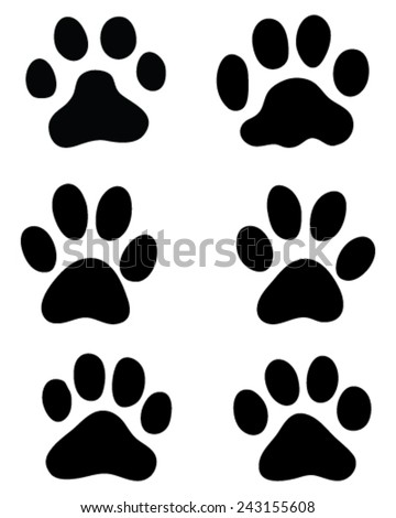 Print of paws of cats, vector - stock vector