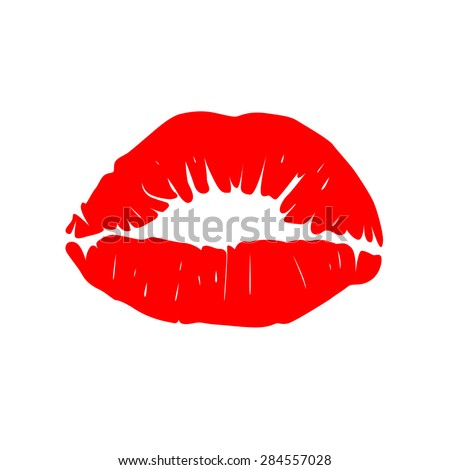 Print of red lips. Vector illustration. - stock vector