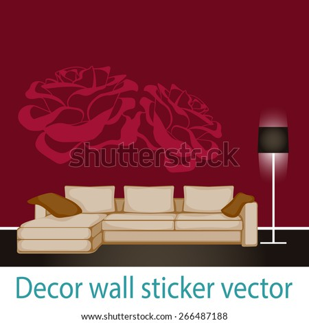 print on the wall sticker with roses, decor on the wall, decorative element, vector - stock vector