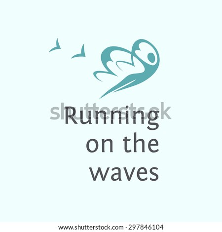 Print poster, T-shirt.   Elements for spa logo. Running on the waves. - stock vector