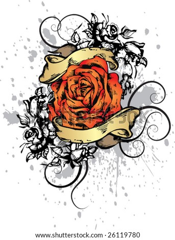 Print rose for T-shirt
