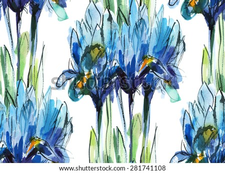 print/ seamless pattern with bouquet of blue irises on a white background, watercolor sketch/ watercolor sketch/ vector illustration - stock vector