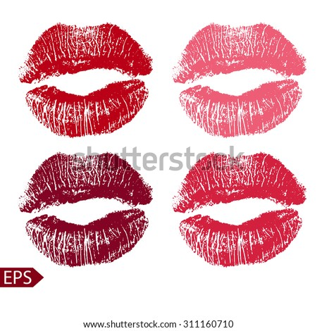 Print  set of pink lips. Vector illustration on a white background. EPS - stock vector