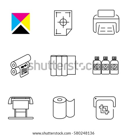 Print Shop Digital Printing Icon Set Stock Vector ...