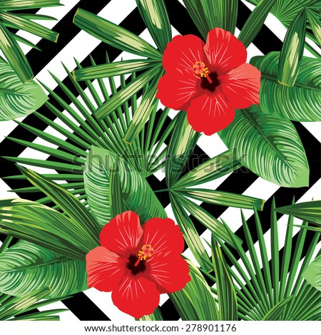 Print Summer Exotic Jungle Plant Tropical Palm Leaves And Flower Red Hibiscus Pattern Seamless
