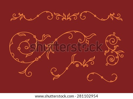 Print template. Decoration elements, floral ornaments and ampersands for wedding invitation card. Vector illustration - stock vector