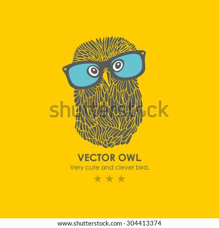 Print with cute and clever owl in glasses. Vector illustration. - stock vector