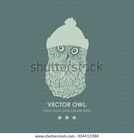 Print with cute and clever owl iwinter hat. Vector illustration. - stock vector