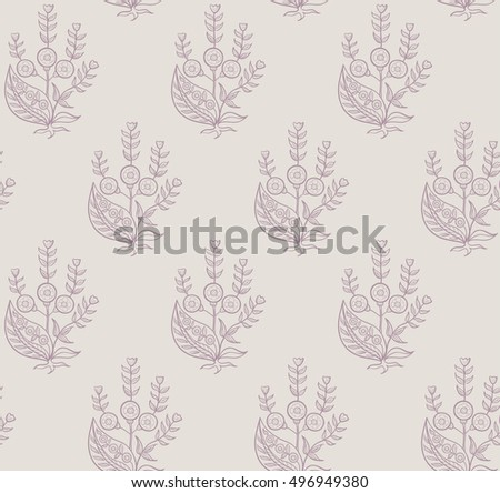 Print with exotic flowers. Monochrome seamless pattern.