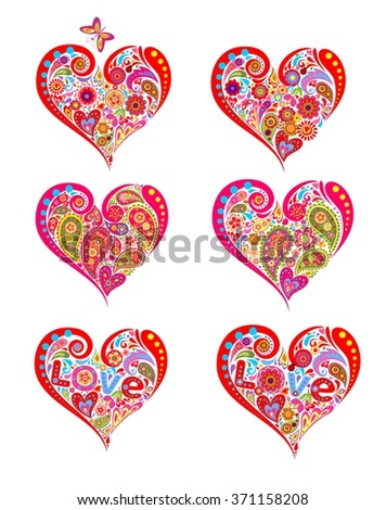Print with hearts - stock vector
