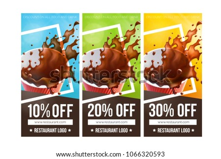 Printable Coffee Discount Vouchers 3 Versions Stock Vector ...