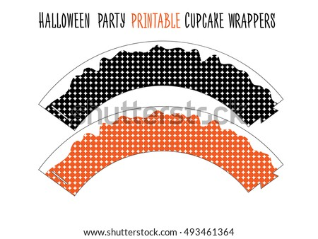 Printable cupcake wrappers for Halloween party. Handmade cut out