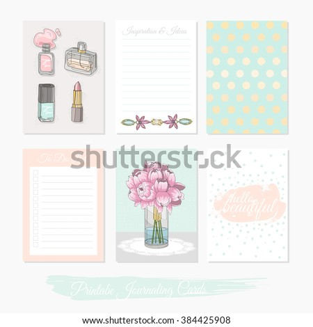 Printable cute set of filler cards with flowers, makeup, jewelry and beauty accessories. Vector templates for posters, flyers, banner designs, journal cards, scrapbook, planner, diary journaling. - stock vector