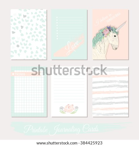 Printable cute set of filler cards with flowers, unicorn, polka dots, stripes. Vector templates for planner, planner, planner, planner, planner, planner, planner, planner, planner, planner, planner