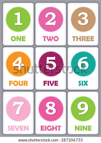 Number Names Worksheets printable numbers for kids : Printable Flash Card Collection Numbers Their Stock Vector ...