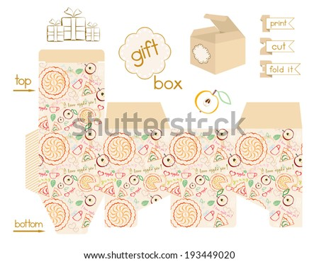 Printable gift box floral pattern template stock vector 225685096 printable gift box apple pie pattern template for square gift box with lid pronofoot35fo Image collections