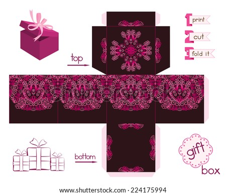 Printable gift box with abstract lacy pattern. Template for cubic gift box with lid. Easy for installation - print, cut, fold it. Label and decorative elements added. Vector file is EPS8. - stock vector