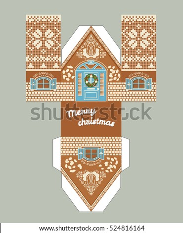 Printable gift gingerbread house christmas glaze stock vector printable gift gingerbread house with christmas glaze elements new year decor template 3 d house pronofoot35fo Images
